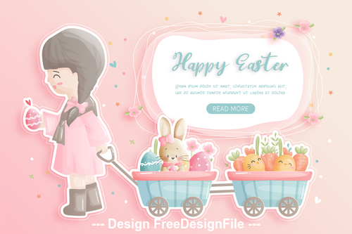 Easter girl and cute bunny illustration vector