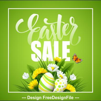 Easter green background sale cover vector
