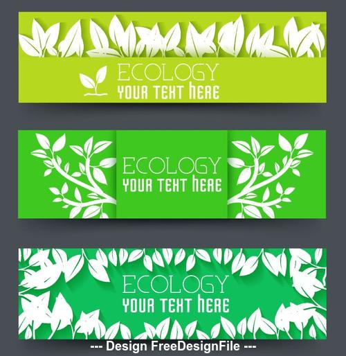 Ecology banners with leaves vector design