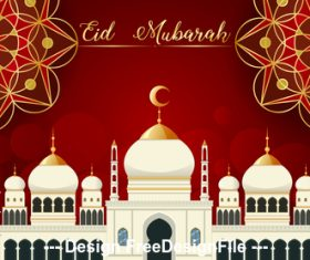 Eid Mubarak greeting card mosque background vector