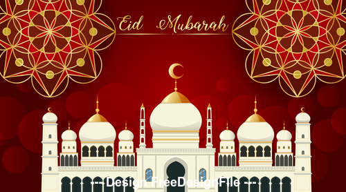 Eid Mubarak greeting card mosque background vector