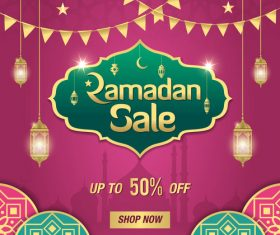 Eid Mubarak half price sale card vector