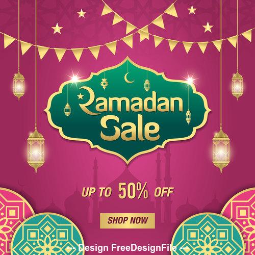 Eid Mubarak half price sale card vector