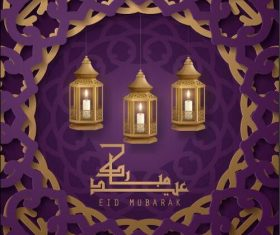 Eid Mubarak holiday greeting card design vector