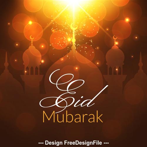 Eid mubarak background mosque vector