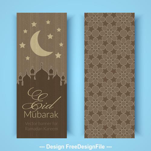 Eid mubarak banner vector on gray background