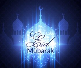 Eid mubarak blue background mosque vector