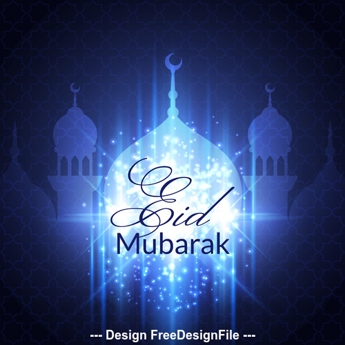 Eid mubarak blue background mosque vector