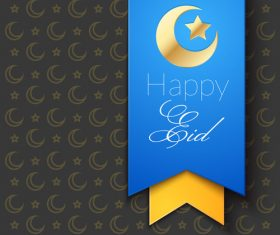 Eid mubarak blue ribbon greeting card vector