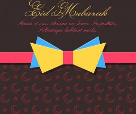 Eid mubarak bow tie greeting card vector