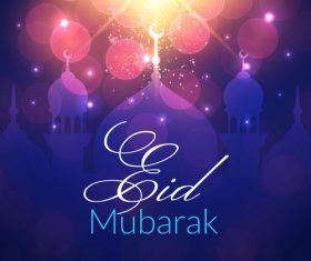 Eid mubarak glitter background mosque vector