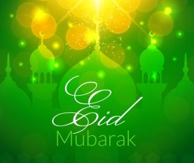 Eid mubarak green background mosque vector