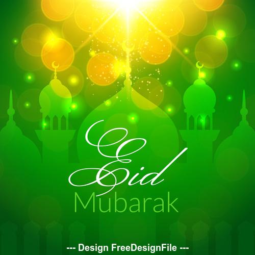 Eid mubarak green background mosque vector