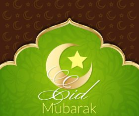 Eid mubarak greeting card vector on green background