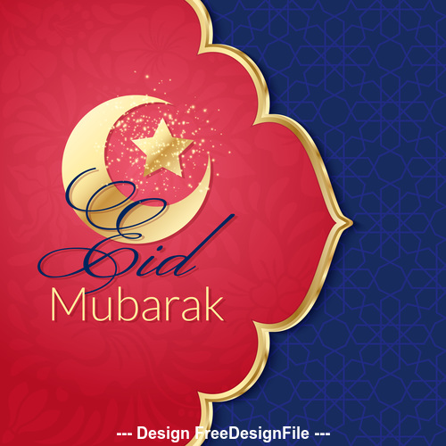 Eid mubarak greeting card vector on red background