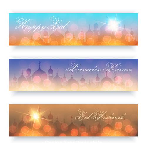 Eid mubarak islamic architecture background banner vector