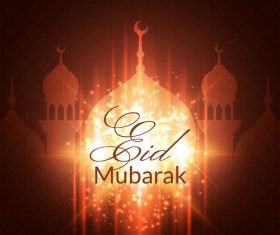 Eid mubarak light red background mosque vector