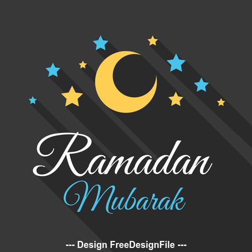 Eid mubarak long shadows vector on black background