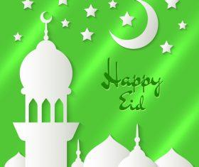 Eid mubarak mosque silhouette background vector