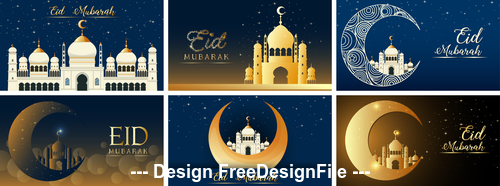 Eid mubarak muslim background set vector