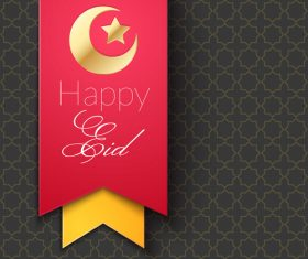 Eid mubarak ribbon greeting card vector