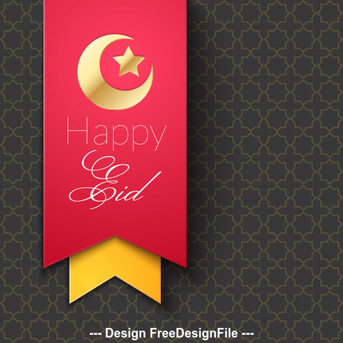 Eid Mubarak Ribbon Greeting Card Vector Free Download