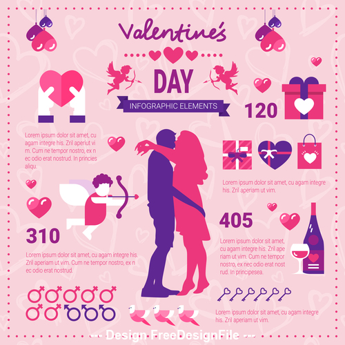 Elements infographics Valentines day infographics vector