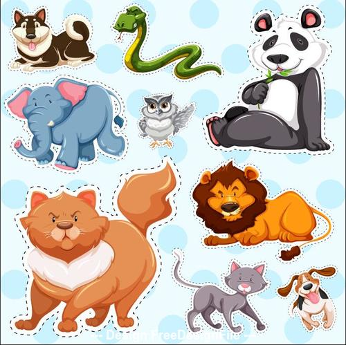 Elephant lion snake and other animals sticker vector