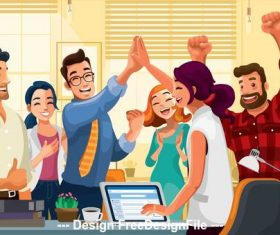 Employee celebration cartoon illustration vector