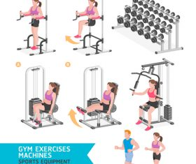 Exercise machine set icon vector