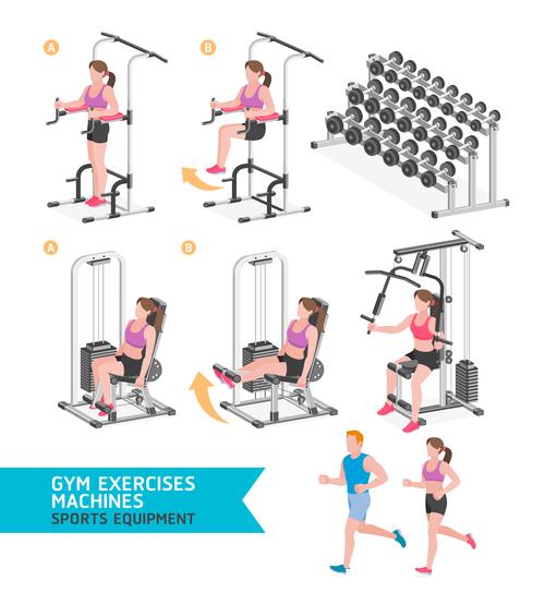 Exercise machine set icon vector