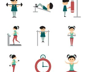 Exercise strength icon set vector