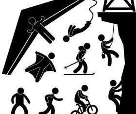 Extreme sports matchstick men vector