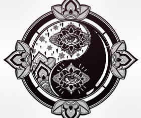 Eye and garland icon vector