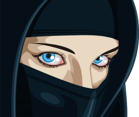 Face of Arabic Muslim woman, vector illustration vector