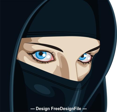 Face of Arabic Muslim woman, vector illustration vector
