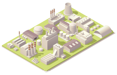 Factory building layout vector