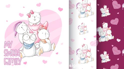 Family bear cartoon background vector
