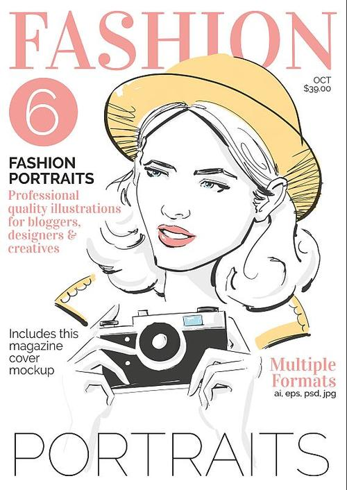 Fashion Portrait Flyer PSD Template with Illustration Collection