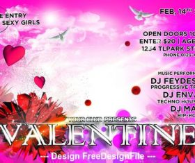 Fashion Valentine Party Flyer PSD Template