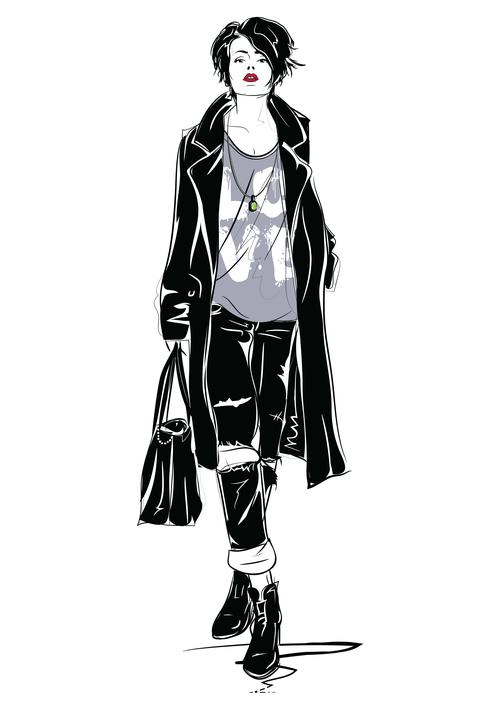 Fashion girl sketch vector