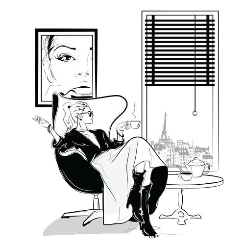 Fashion sketch silhouette elegant girl vector