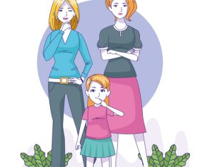 Fashion woman and child vector