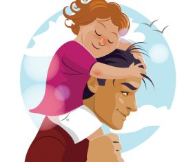 Father and daughter cartoon illustration vector