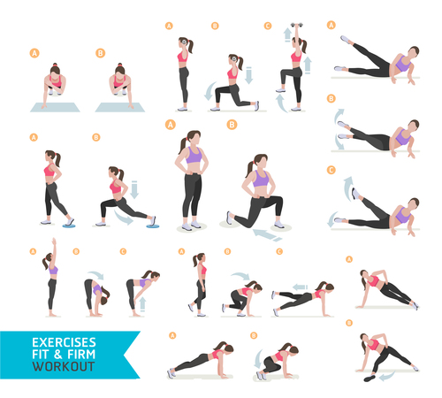 Female complete fitness action breakdown icon vector 02