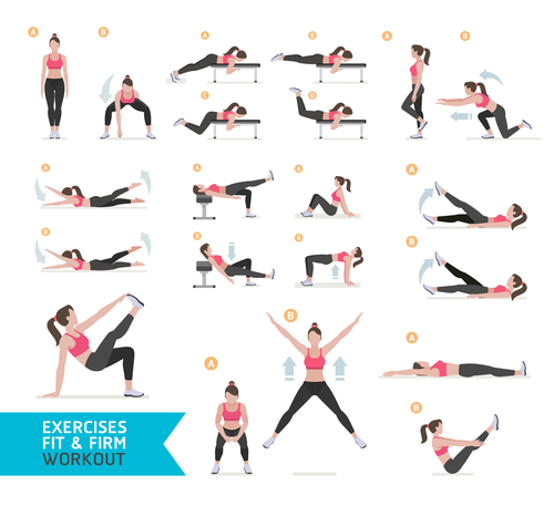 Female complete fitness action breakdown icon vector 05