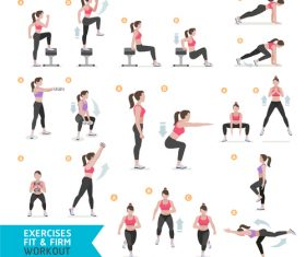 Female complete fitness action breakdown icon vector 06