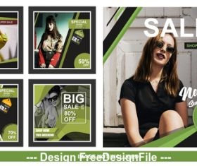 Female goods social media sales banner vector