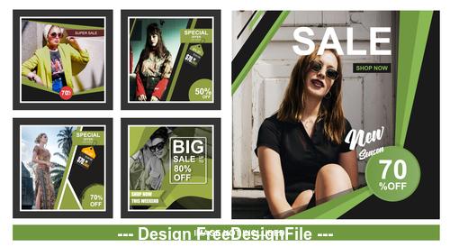 Female goods social media sales banner vector