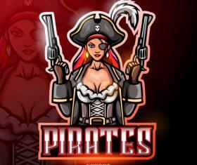 Female pirates logo vector